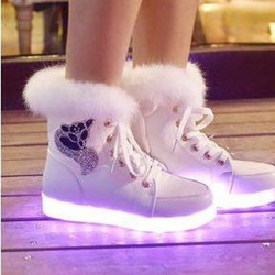 Giày LED cao cổ lót bông- trắng
