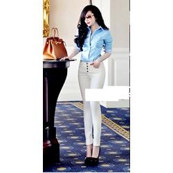 Quần jean trắng lưng cao 4 nút giống bella