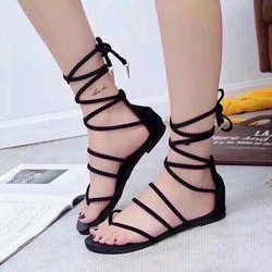 sandal cột dây chất nhung cá tính