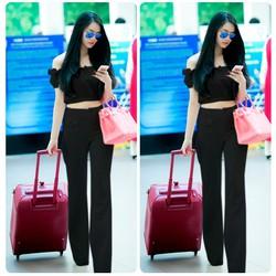 Set nguyên bộ áo crotop bẹt vai quần dài 2 túi trước giống Linh Chi