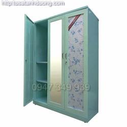 Tủ quần áo 3 cánh có gương bằng sắt sơn tĩnh điện