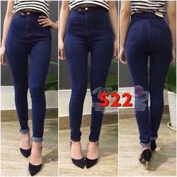 quần jeans nữ lưng cao 2 nút ngang sành điệu