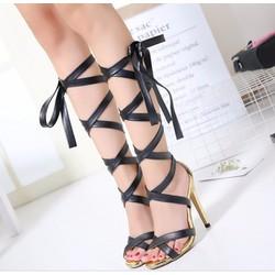 Giày sandal chiến binh cao gót quấn dây