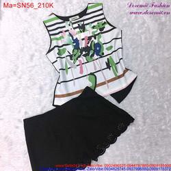 Bộ đồ ngắn mặc nhà áo hoa và quần ren xinh xắn SN56 View