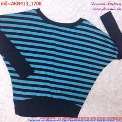Áo kiểu nữ cổ tròn tay dài cánh dơi phối sọc thời trang AKN413