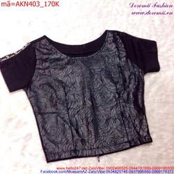 Áo kiểu nữ hoa hồng phối lưới độc đáo sành điệu AKN403