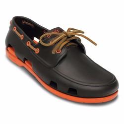 Giày Crocs beachline boat cho nam màu nâu đế cam