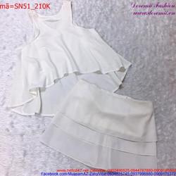 Set áo sát nách và chân váy xếp tầng đơn giản đáng yêu SN51