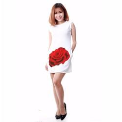 Đầm Hoa Hồng Nền Trắng
