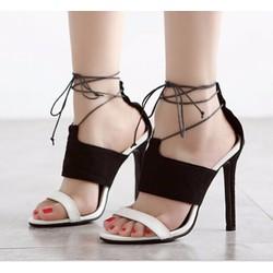 Giày cao gót 2 quai ngang phối màu cột dây màu đen