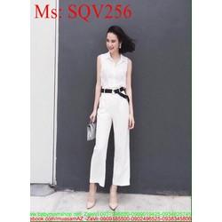 Sét áo kiểu sơ mi và quần dài suông xinh đẹp thời trang SQV256
