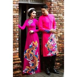 Cặp áo dài cưới cô dâu chú rể hồng