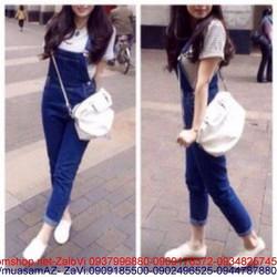 Quần yếm jean dài sành điệu cho cô nàng năng động QY2