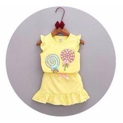 Bộ áo váy thun bèo hình kẹo