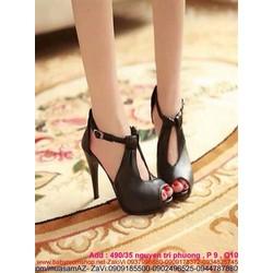Giày cao gót hở mũi đen cá tính thiết kế sành điệu mới lạ GCN202