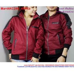 Áo khoác dù hai màu đen nâu và đen đỏ sành điệu AKC246