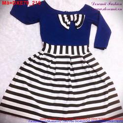 Đầm xòe tay dài đính nơ phối váy sọc trẻ trung DXE70