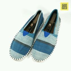 Giày lười vải | Slip on nam sọc to bản - 2 màu xanh và nâu -mã 626