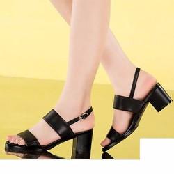 Giày gót vuông 2 quai ngang - LN1077