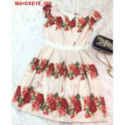 Đầm xòe tay con in hoa hồng nổi bật đáng yêu DXE19