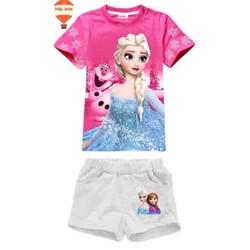 24-35kg Bộ short Elsa cho ngày hè thêm sành điệu - Hồng