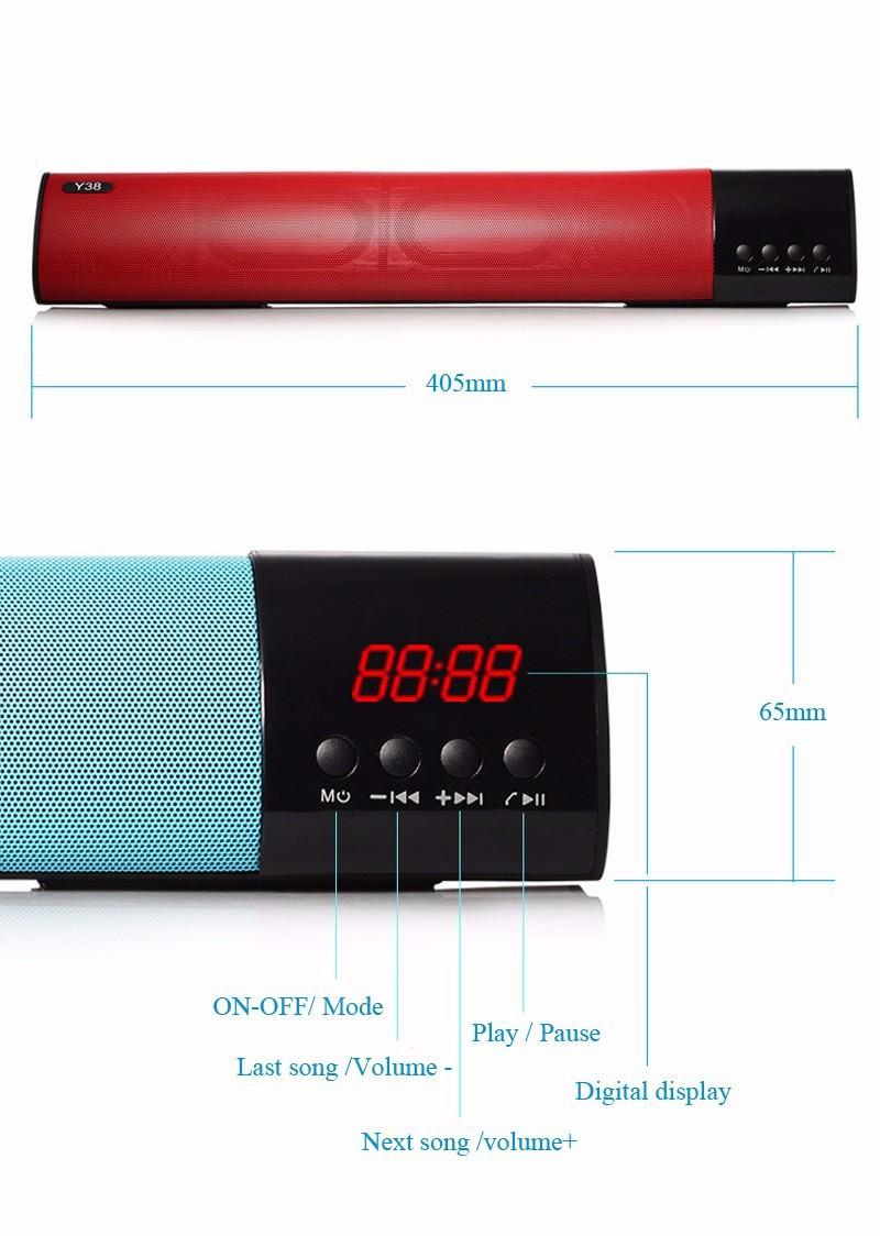 Loa Bluetooth công suất 10w, Stereo 3D Âm Thanh vòm Soundbar 4