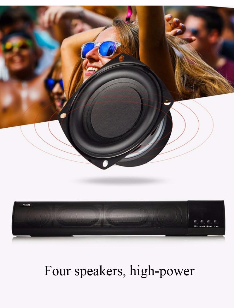 Loa Bluetooth công suất 10w, Stereo 3D Âm Thanh vòm Soundbar 8