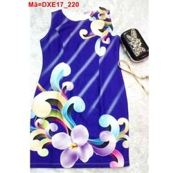 Đầm sát nách màu xanh in hoa trẻ trung DXE17
