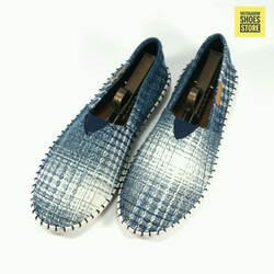 Giày lười vải | Slip on nam sợi dệt kiểu vặn thừng - 2 màu xanh và ghi