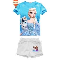 24-35kg Bộ short Elsa cho ngày hè thêm sành điệu - Xanh