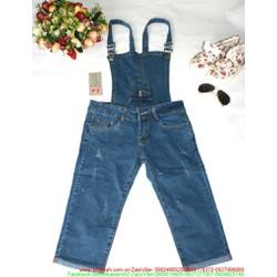 Quần yếm jean dài xắn lai rách đơn giản cực xinh QY20 View