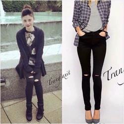 quần jean đen rách gối