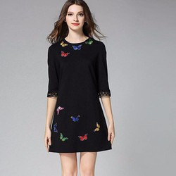 Đầm suông họa tiết sang trọng DS007