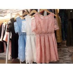 Đầm xoè ren khoét vai _MỎ CHU SHOP