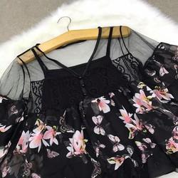 Áo peplum hoa lưới kèm áo lót