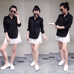 Set áo sơmi xẻ tag quần ren _MỎ CHU SHOP