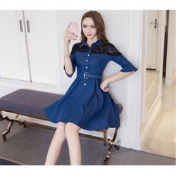 Đầm xoè jeans phối ren _MỎ CHU SHOP