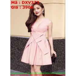 Đầm xòe sát nách kiểu mới lạ màu hồng xinh xắn DXV373