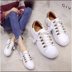 Giày nữ bata cột dây  màu trắng