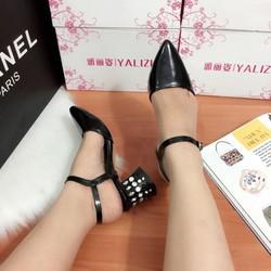 giày Sandal đế đính đá got vuông cao cấp -pll1067