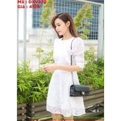 Đầm xòe dài tay trắng trẻ trung chất liệu ren mềm DXV370