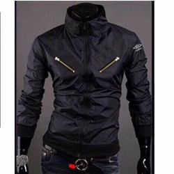 Áo khoác bomber jacket kaki 2 lớp dây kéo ngực