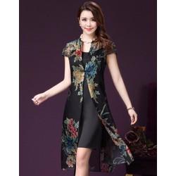 Hàng nhập - Sét đầm 2 dây + áo khoác voan hoa
