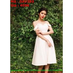 Đầm xòe dự tiệc trắng 2 dây phối bệt vai sành điêu DXV393 View 450,000