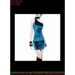 Đầm ôm dự tiệc lệch vai sang trọng chất liệu nhung DOC367