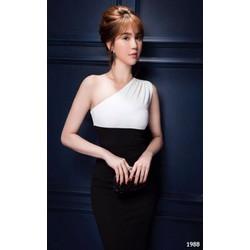 Đầm body lệch vai đen trắng 1988