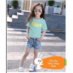 Set áo thun quần jean sort cá tính cho bé 5-12tuổi