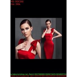 Đầm ôm cúp tay bèo màu đỏ sang trong quý phái DOC366