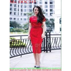 Đầm ôm dự tiệc chất liệu ren đỏ sang trọng cao cấp DOC343