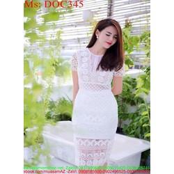 Đầm ôm ren hoa văn thời trang và sành điệu DOC345